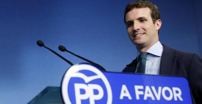 El vicesecretario de Comunicación del PP y diputado por Ávila, Pablo Casado, durante su comparecencia hoy ante los medios de comunicación en la sede del partido en Madrid. EFE/Mariscal