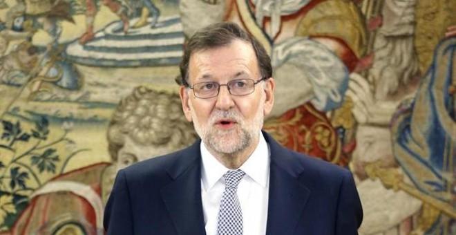 El presidente del Gobierno en funciones, Mariano Rajoy, este jueves, en el Palacio de la Zarzuela. EFE/Ángel Diaz ***POOL***