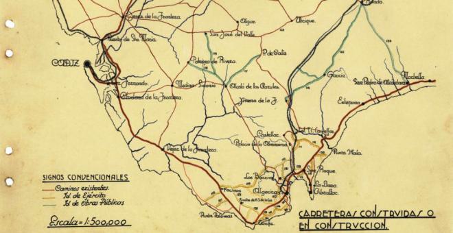 Mapa de carreteras construidas por los presos en el Campo de Gibraltar