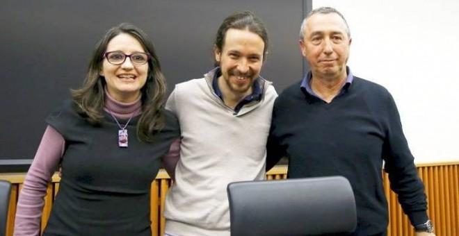 Mònica Oltra, Pablo Iglesias y Joan Baldoví./ EFE