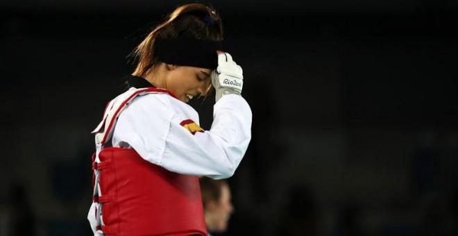 Eva Calvo, tras lograr la medalla de plata en la categoría de menos de 57 kilos.EFE/