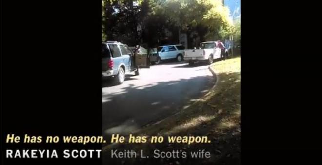 Captura del vídeo grabado por la mujer de Scott, abatido por la policía en Charlotte.