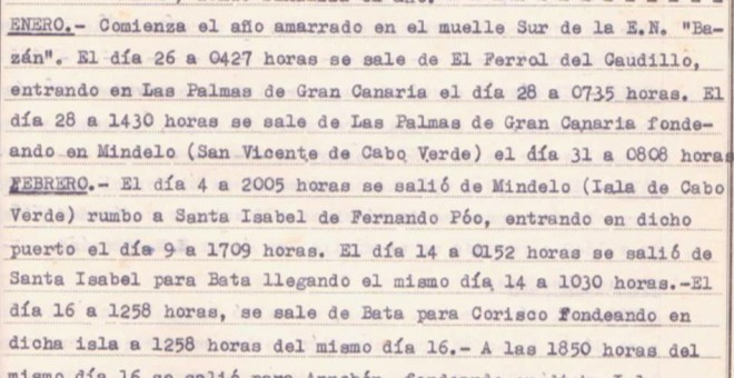 Hoja de servicios del capitán de corbeta retirado Sabino Collazo, que refleja la ruta del crucero Canarias. / ARCHIVO FAMILIA COLLAZO