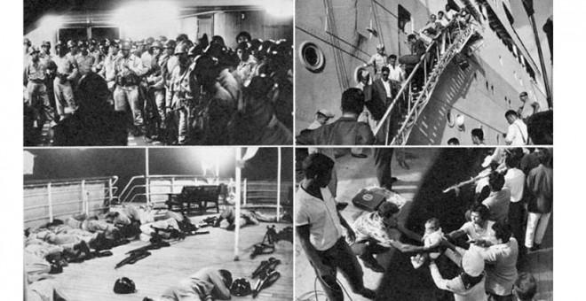 A la izquierda, los 'fuzileiros' de la Marina brasileña; a la derecha, desembarco de los pasajeros.