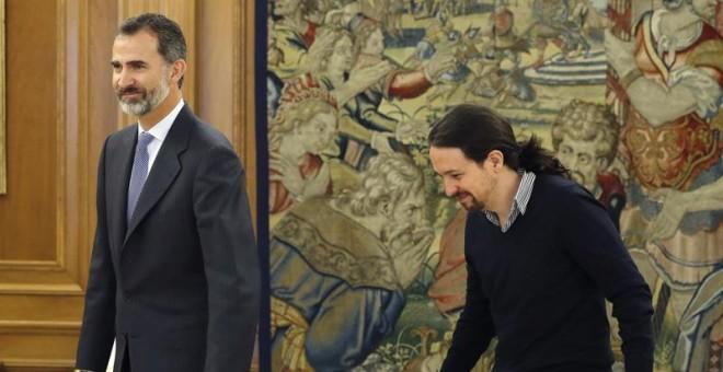 El Rey ha recibido hoy al líder de Podemos, Pablo Iglesias en la segunda jornada de su ronda de contactos. /EFE
