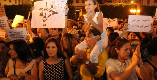 Imagen de archivo de 2015  en Rabat durante la protesta contra la detención de dos jóvenes / EFE