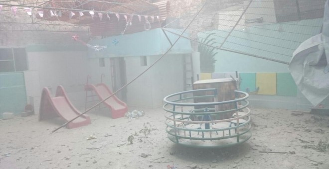 Una escuela destroza en la zona de Alepo controlada por los rebeldes. Fotografía cedida por Mohammed Adel.