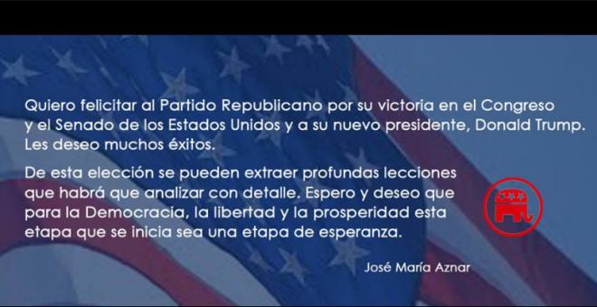 Captura de la publicación en Facebook de José María Aznar.