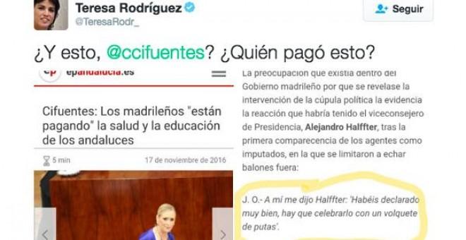Twitter de Teresa Rodríguez-