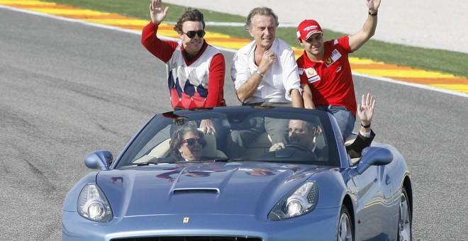 Rita Barberá, en una imagen de archivo, con Francisco Camps, Fernando Alonso y Felipe Massa en el circuito de Valencia, Ricardo Tormo / EFE