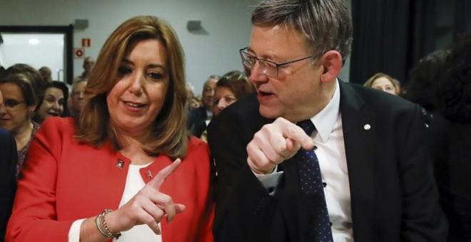 Susana Díaz, con Ximo Puig en Madrid esta semana. EFE/ JuanJo Martin