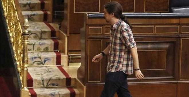 El líder de Podemos, Pablo Iglesias, durante una sesión de control al Gobierno en la Cámara Baja. /EFE