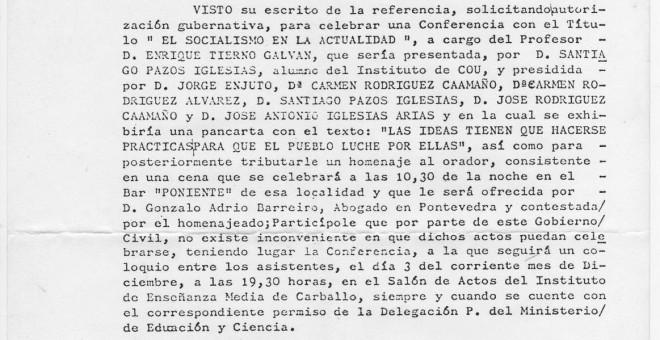 Permiso del Gobierno Civil de A Coruña para la celebración de la conferencia a cargo de Tierno Galván en 1976.