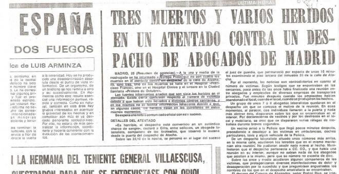 Noticia de la época sobre el atentado.