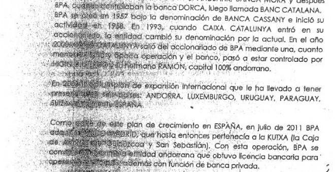Extracto de la nota informativa copiada de wikipedia que publicó Manuel Cerdán y que Villarejo ha entregado a los dueños del BPA.