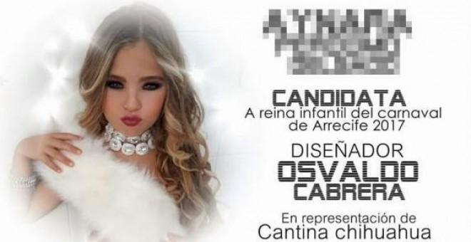 Cartel de la niña aspirante a Reina Infantil del Carnaval de Arrecife (Lanzarote)