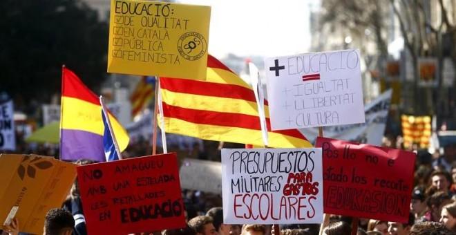 La manifestación de esta tarde en Barcelona / EFE
