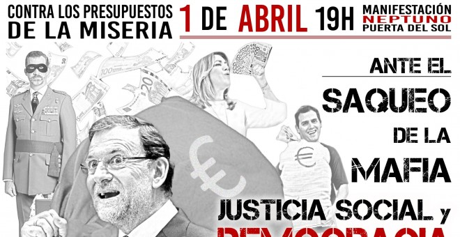 Cartel de la convocatoria de la manifestación en Madrid el próximo 1 de abril
