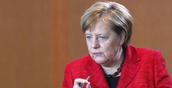 Angela Merkel en una intervención ante su grupo parlamentario en el Bundestag. REUTERS/Fabrizio Bensch