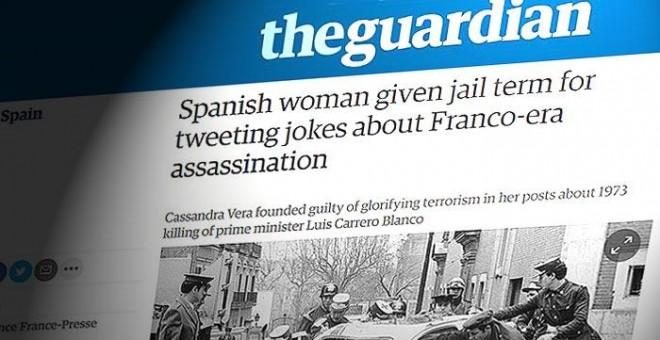 El medio británico 'The Guardian' se hace eco de la condena de la Audiencia Nacional contra la tuitera Cassandra por sus chistes sobre el asesinato de Carrero Blanco.