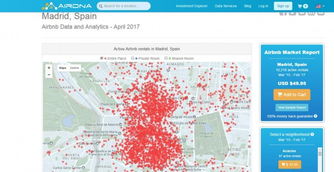 Viviendas en alquiler en Madrid, según el portar estadístico AirDNA.