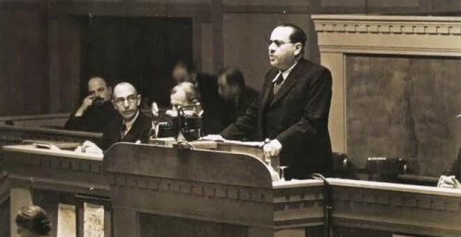 El último presidente de la II República, Juan Negrín, interviene en la Sociedad de Naciones