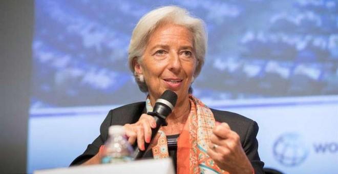Fotografía de Christine Lagarde durante un encuentro durante la reunión de primavera del FMI y el Banco Mundial que se celebra esta semana. | EFE