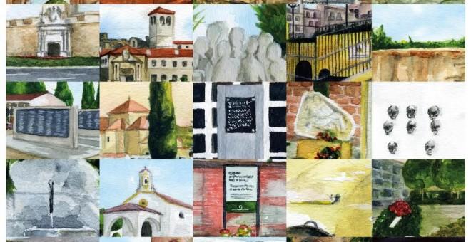 Collage de diferentes lugares de la Memoria de Andalucía-- Una acuarela de CANDELARIO G.FLORES