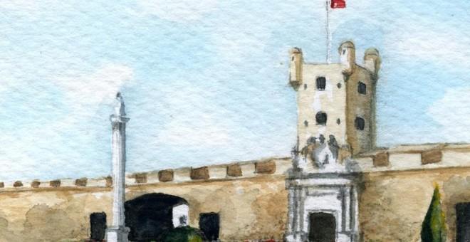 Los muros de Puerta de Tierra de Cádiz .- CANDELARIO G. FLORES
