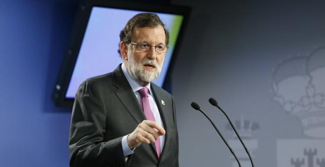 Mariano Rajoy tras un encuentro europeo en Bruselas.- EFE