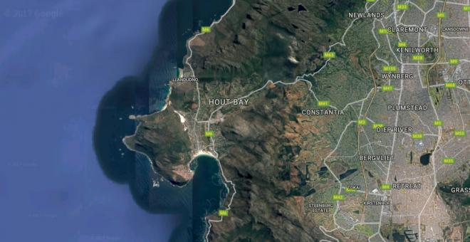 Imagen de satélite de Google de Hout Bay, Sudáfrica./ Google Maps