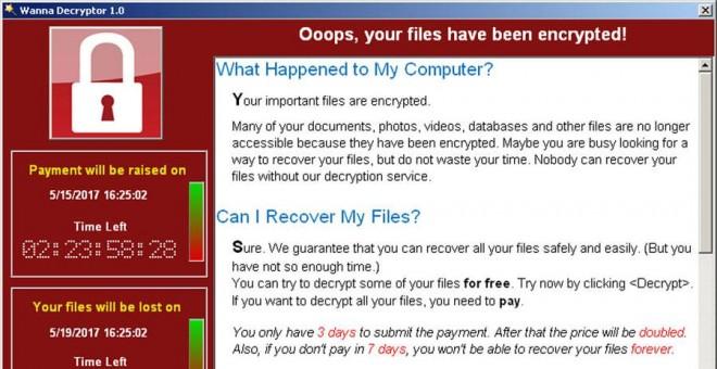 Pantallazo del virus WannaCry pidiendo dinero. REUTERS