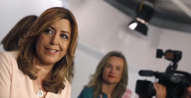 La presidenta de la Junta de Andalucía, Susana Díaz, comparece en Ferraz tras conocer los resultados de las primarias para la Secretaría General del PSOE.EFE/Javier Lizón