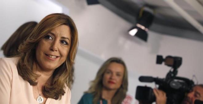 La presidenta de la Junta de Andalucía, Susana Díaz, comparece en Ferraz tras conocer los resultados de las primarias para la Secretaría General del PSOE, en las que Pedro Sánchez ha ganado con el 49,77% de los votos. EFE/Javier Lizón