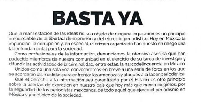 Titulado 'Basta ya', el pronunciamiento se publica este miércoles y lo firman una cuarentena de medios de comunicación entre periódicos, cadenas de televisión, emisoras de radio y agencias de noticias. EFE/Mario Guzmán