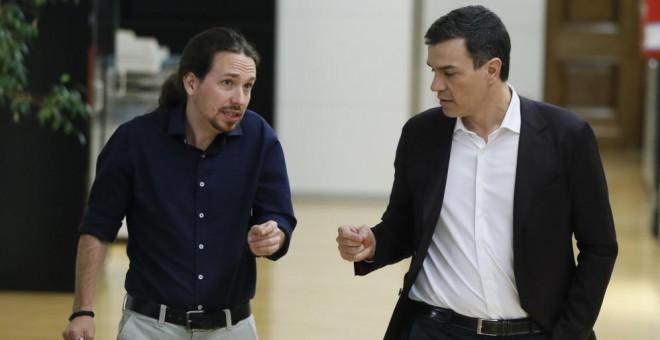 Los líderes del PSOE, Pedro Sánchez, y de Podemos, Pablo Iglesias.-EFE