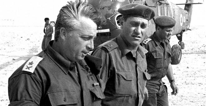 El ministro de Exteriores israelí Ariel Sharon durante la Guerra de los Seis Días./AFP