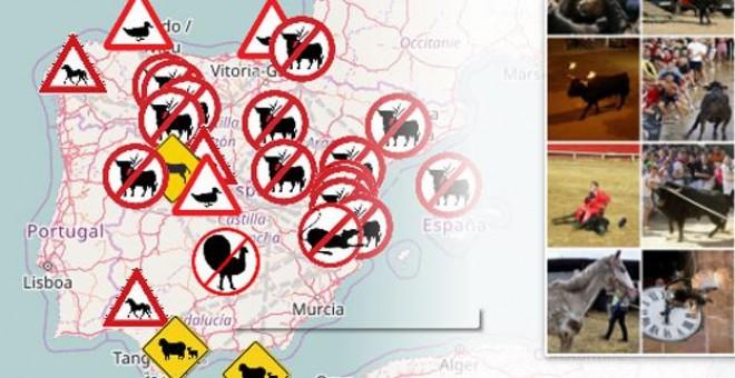Mapa del maltrato animal elaborado por Público