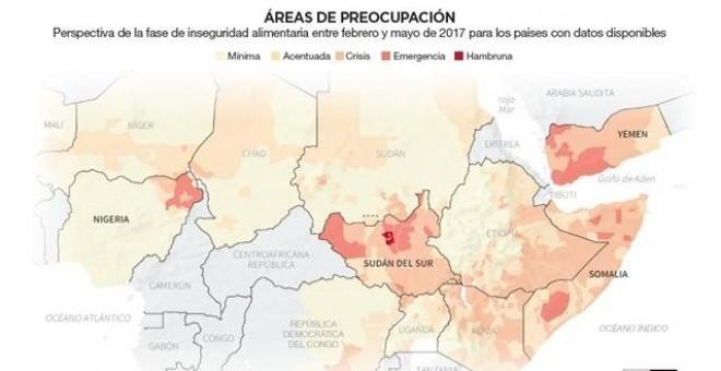 Cuatro países situados entre África Central y Oriente Medio —Nigeria, Somalia, Sudán del Sur y Yemen— se encuentran en riesgo de inanición a causa de los conflictos bélicos y la sequía / REUTERS
