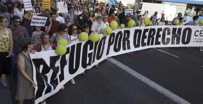 Un momento de la manifestación en Madrid, con el lema 'Basta de Excusas, queremos acoger ya!', celebrada el pasado 17 de junio de 2017 en Madrid. | FERNANDO ALVARADO