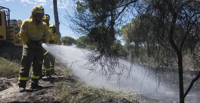 Efectivos del Infoca realizan labores de refresco tras el incendio forestal declarado el pasado sábado en el paraje 'La Peñuela' de Moguer (Huelva), que ha afectado a una amplia superficie de masa forestal del entorno de Doñana e incluso parte del parque