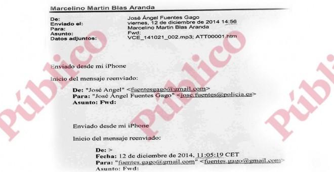 Encabezado del mail de Gago a Martín-Blas.