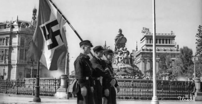 Octubre de1940, el jefe de la policía nazi, Heinrich Himmler, visita a sus aliados franquistas.- TWITTER ARMH