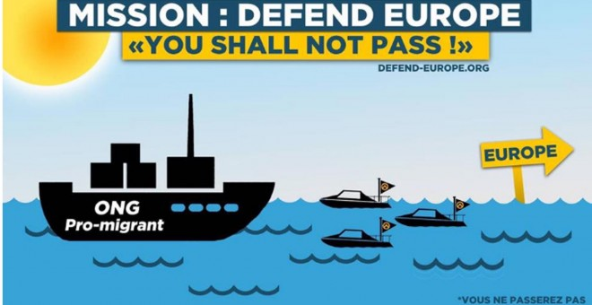 Cartel propagandístico de Defend Europe.