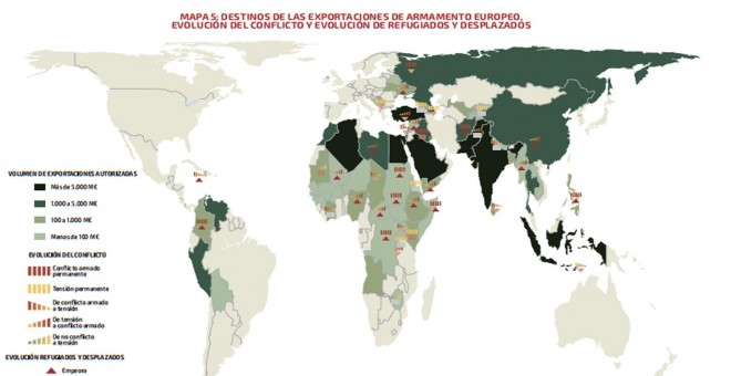 Mapa de las exportaciones de armas europeas a países en conflicto y número de refugiados.- CENTRE DELÀS