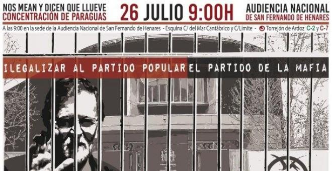 Convocatoria de la Coordinadora 25-S para la concentración de protesta en la Audiencia Nacional durante la declaración de Mariano Rajoy ante el tribunal de la Gürtel. COORDINADORA 25-S