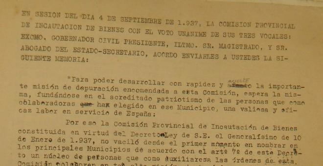 Escritos de documento encontrado del Ayuntamiento del Concejo de Sestao de 1937. / D.A.