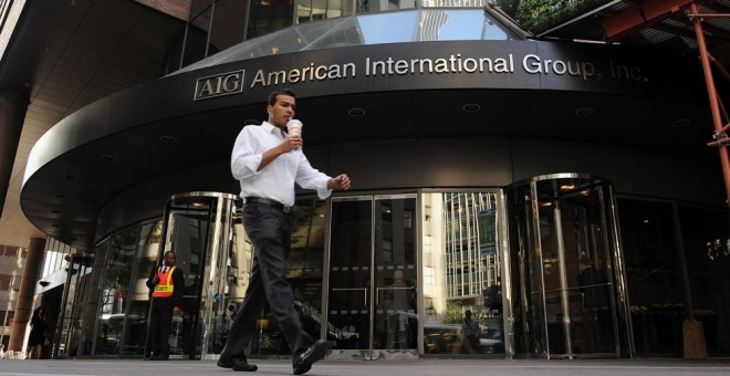 La sede de la aseguradora American International Group (AIG), en Manhattan, Nueva York, en septiembre de 2008. AFP PHOTO/Stan Honda