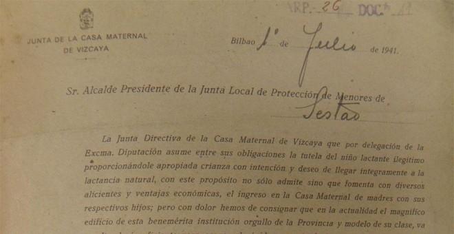 Documento de la Junta Maternal de Vizcaya durante el franquismo. / D.A.