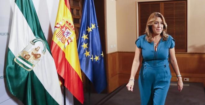 La presidenta de la Junta de Andalucía, Susana Díaz , momentos después de presidir la primera reunión del Consejo de Gobierno andaluz tras las vacaciones de verano. EFE/José Manuel Vidal